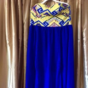 Bright Blue and Yellow Maxi Dress